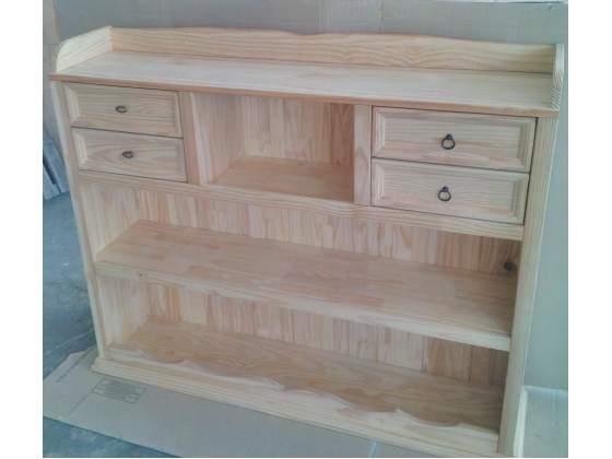 Mobilie a giorno libreria con 4 cassetti in legno naturale