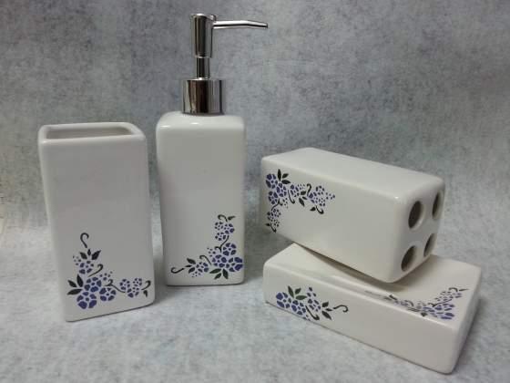 Set da bagno in ceramica dipinta a mano (4 pz.)
