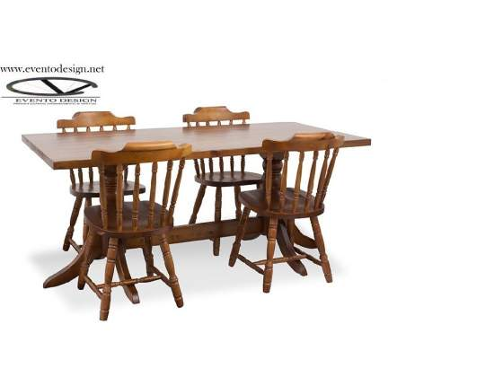 Set tavolo 190x90x4 con sedie old america