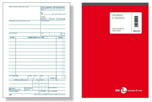 Gw jm 5 x blocco ddt (documento di trasporto) 2 copie