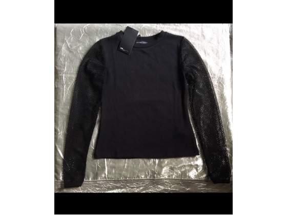 Maglia t-shirt ZARA donna maniche lunghe nera