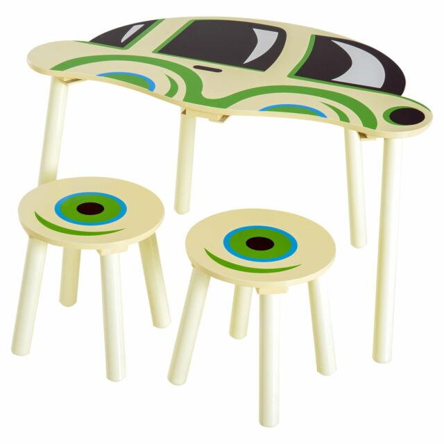 Set Macchinina Con Tavolino E 2 Sgabelli Per Bambini In
