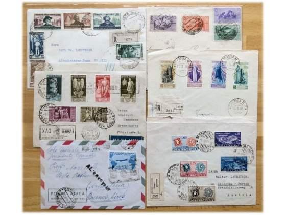 Cerco: Buste lettere viaggiate con francobolli Regno Colonie