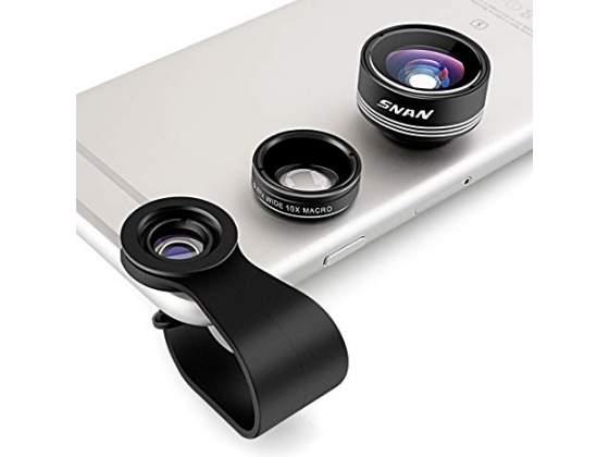 Kit fotografico x smartphone 3 pz asta, lenti, flash