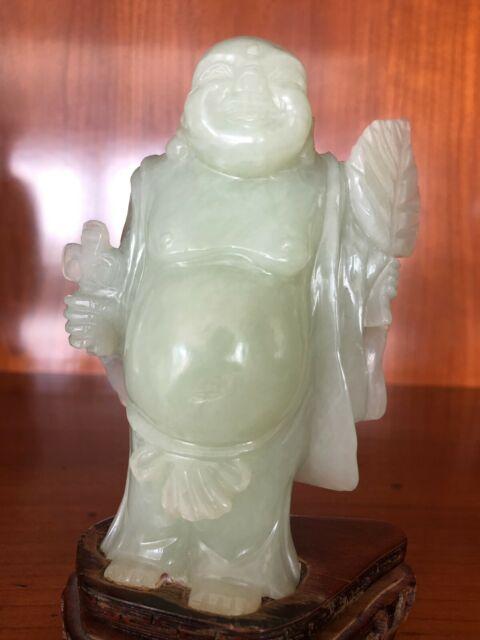 Antichità pesante Buddha budai felice in giada Celadon