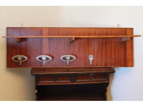 Appendiabiti da parete, vintage, in legno, con 3 ganci, 120