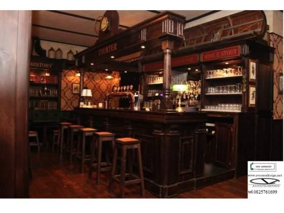 Bancone legno massello per irish pub