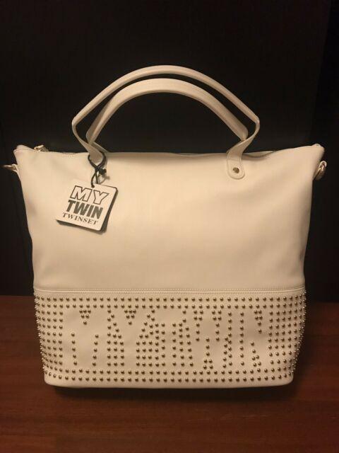 7834fb56e1 Borsa shopping bag twin set originale bianca borchie