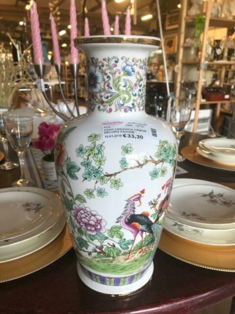 Vaso ceramica cinese decoro pavone