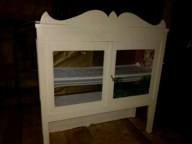 Vetrinetta vintage bianca legno massello