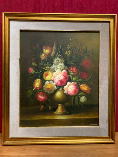 olio su tela fiori cornice in legno misura 50 x 60 Cornice