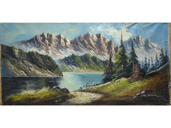 Dipinto olio su tela paesaggio alpino 01