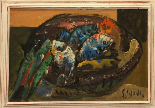 Emanuele Cappello pittore olio su tela pesci