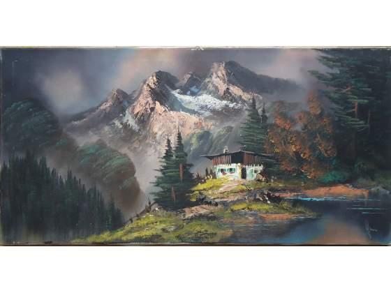 Paesaggio alpino olio su tela