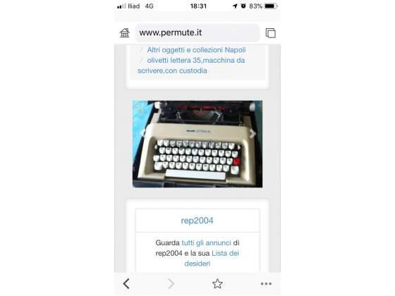 Olivetti lettera 35,macchina da scrivere,con custodia