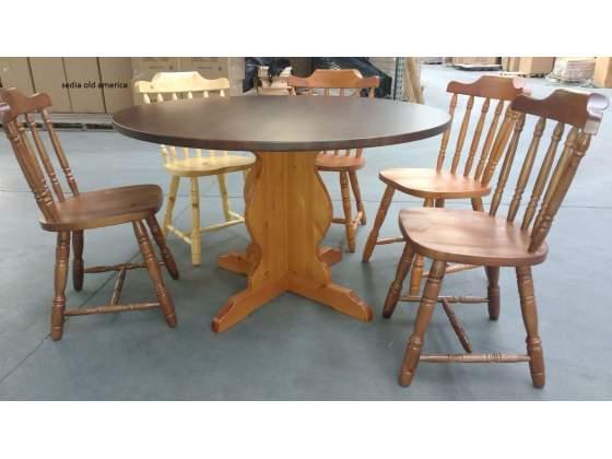 Sedute in legno massello di pino in stile wester, old
