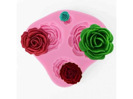 TRIBALSENSATION Stampo In Silicone con 4 Fori Rose 3D