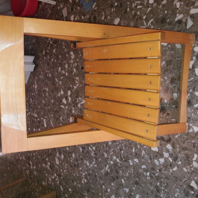 4 sedie pieghevoli in pesante legno massello