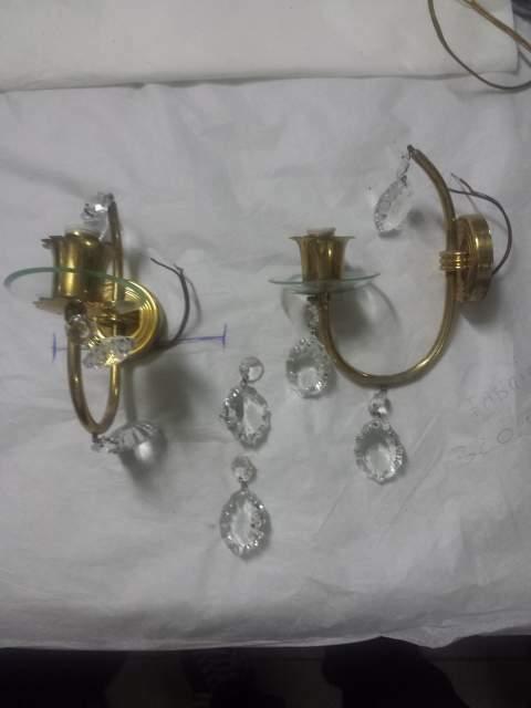 Appliques in ottone e cristallo