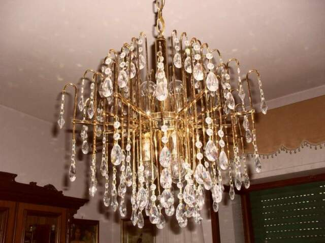 Lampadario classico ottone bagno oro con cristalli