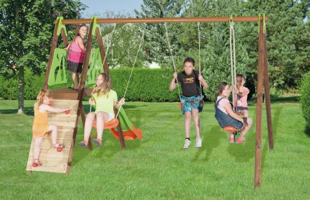 Set ciclamino giochi in legno; 2 altalene + arrampicata +