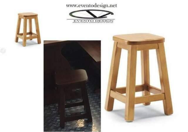 Sgabelli BAR /H45, in legno massello