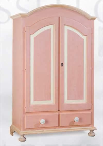 Armadio 2 ante 2 cassetti in abete rosa e bianco nuovo