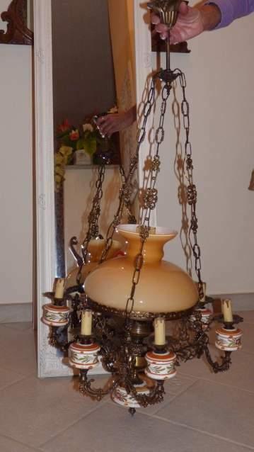 LAMPADARIO IN BRONZO 6/7 luci Diametro Cm.55 - H Cm.75