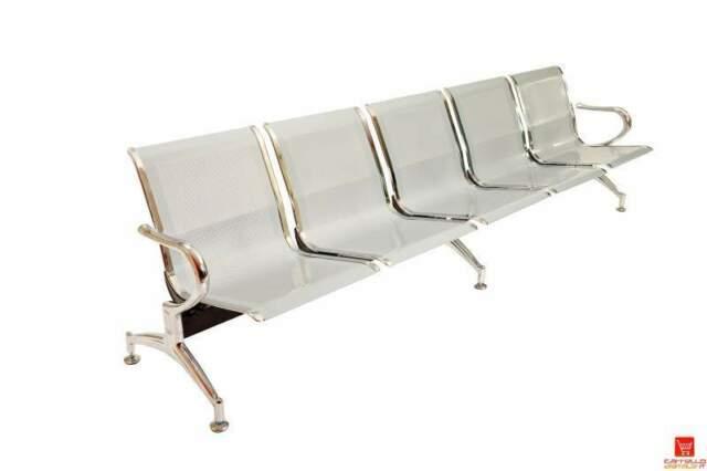 Panca in acciaio a 5 posti per sala attesa - fatturabile