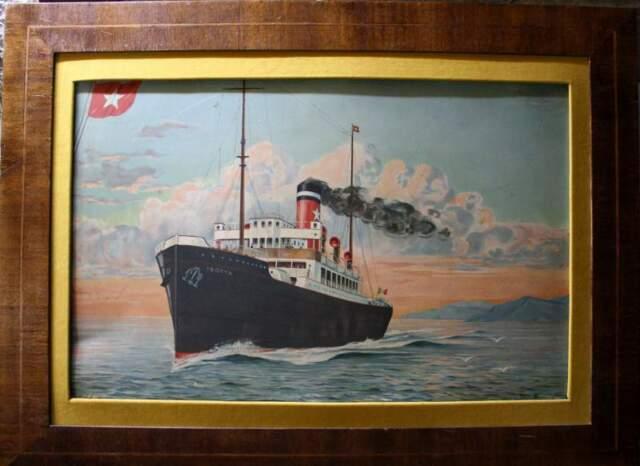 Serigrafia anni '30 su lastra di metallo con soggetto navale