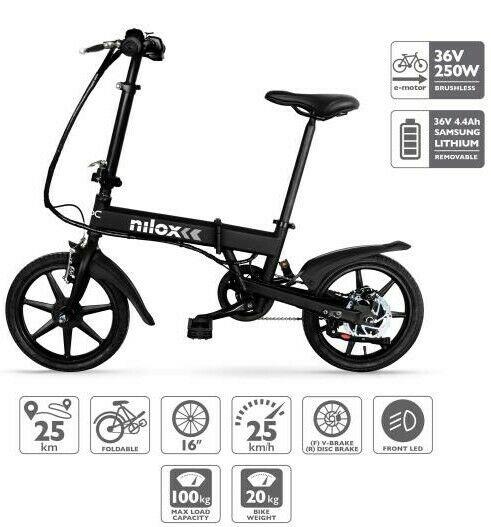 Bici elettrica nilox x2 con pedalata assistita pieghevole