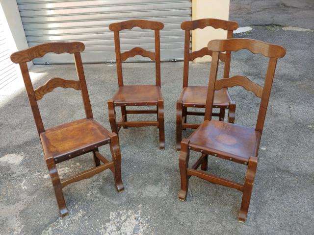 4 sedie legno e pelle stile rinascimentale