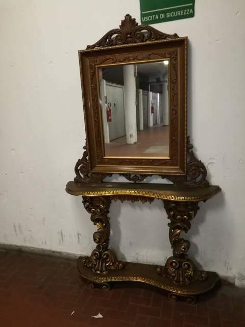 Consolle e specchio Luigi Filippo in legno dorato