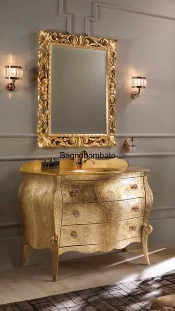 Mobile bagno in legno foglia oro con Swarovski