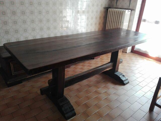 Tavolo legno di rovere spessore cm 5 più 4 sedie