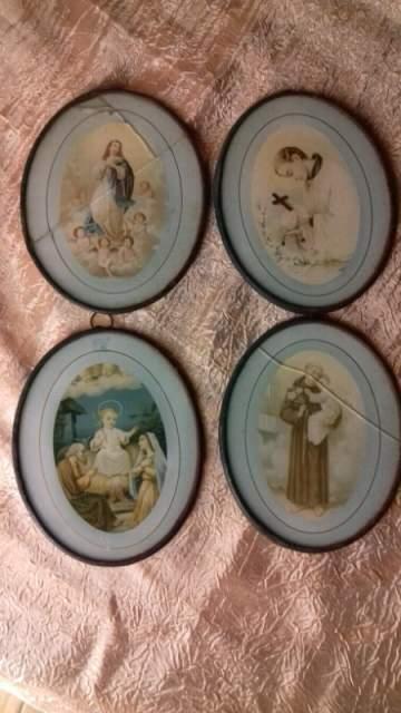 Immagini sacre antiche con vetro e bordo rame