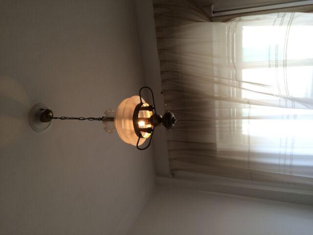 Lampadario in vetro soffiato e bronzo
