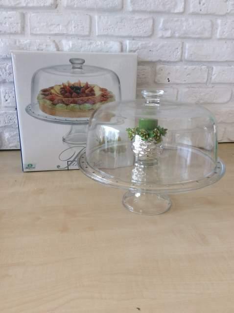Alzata per torta e/o ciotola per macedonia in vetro nuova