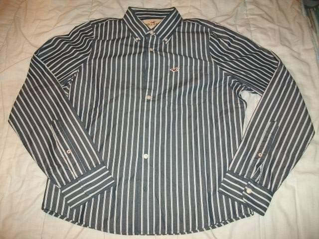 Camicia Hollister,blu righe bianche,tg. L,NUOVA!