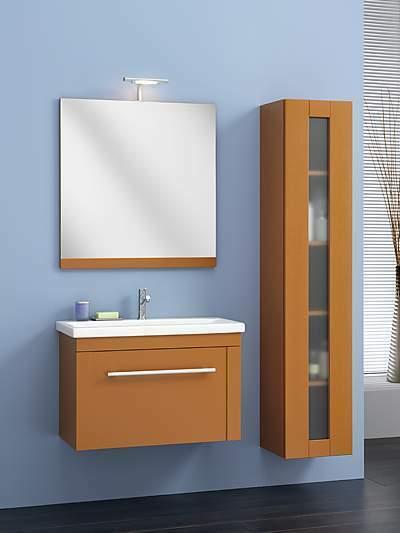 Composizione arredo bagno in legno massiccio colore avorio