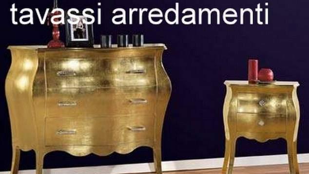 Trittico bombato oro foglia originale completo di comodini