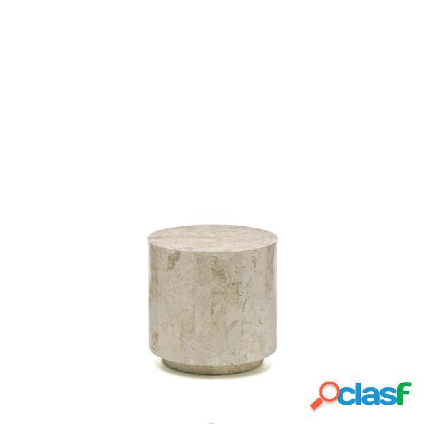 Tavolino Comodino Pouf in Pietra Fossile Colore chiaro