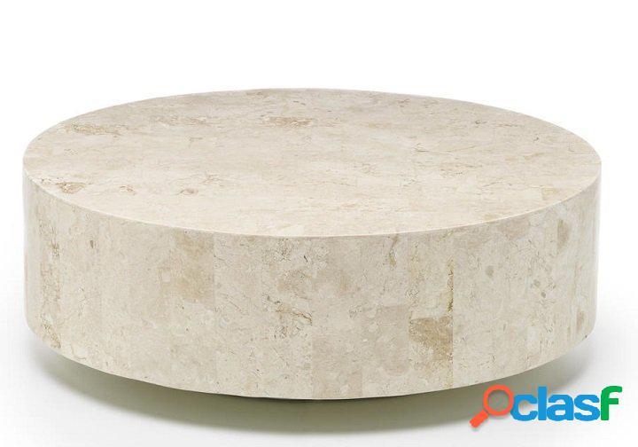 Tavolino da Salotto Tondo in Pietra Fossile colore chiaro