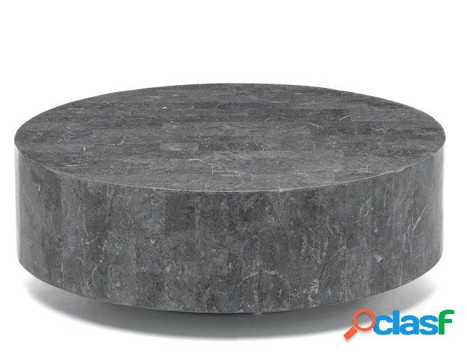 Tavolino da Salotto Tondo in Pietra Fossile colore scuro