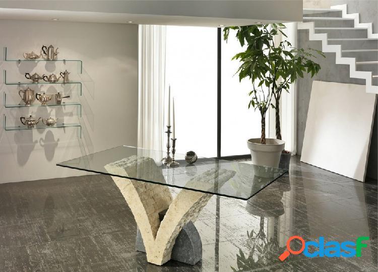 Tavolo Moderno a V in Pietra Fossile Bicolore