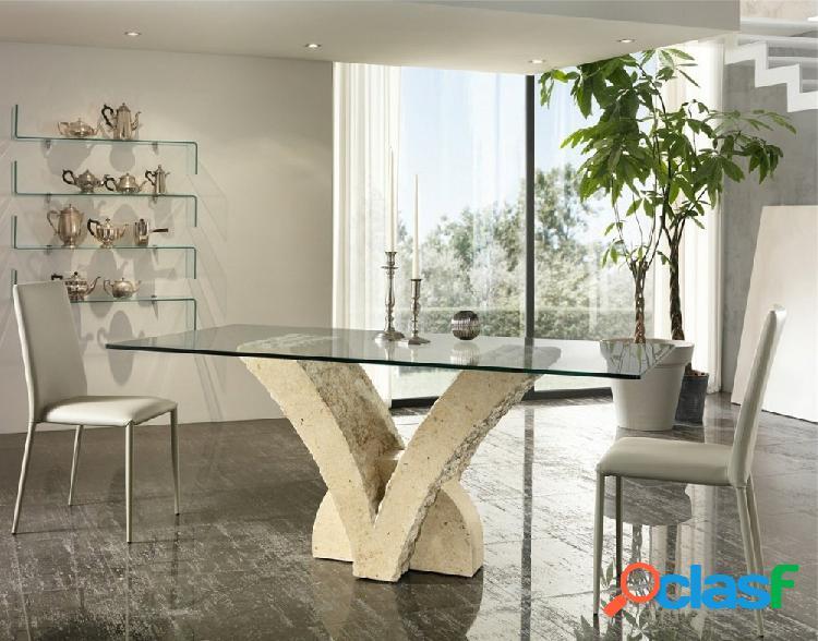 Tavolo Moderno a V in Pietra Fossile e Vetro