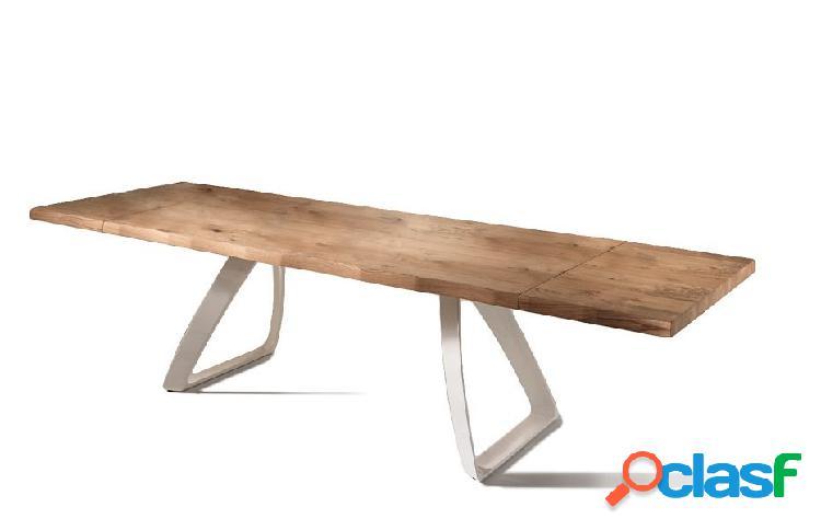 Tavolo da Pranzo Allungabile in Legno e Base Bianca