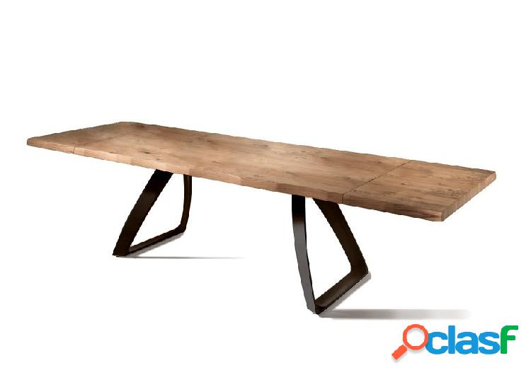 Tavolo da Pranzo Allungabile in Legno e Base Nera
