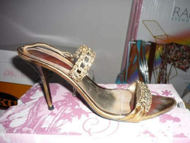 Sandali con strass oro n.38