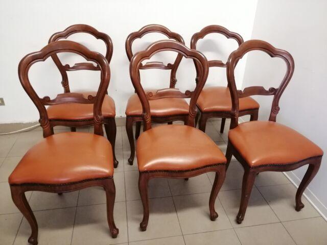 6 sedie Luigi Filippo in noce rivestimento in pelle seduta